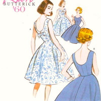 60s Rockabilly dress 1960 cocktail dress Butterick 5748 sewing pattern reissue Bridesmaid Sz 6 to 14 Uncut or 14 to 22 Uncut