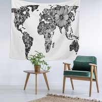 Black White Floral World Wall Tapestry