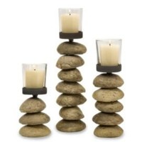 One Kings Lane - Finishing Touches - S/3 Cairn Votive Candleholders