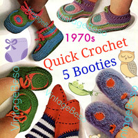 Quick Crochet Baby Bootee Bonanza CROCHET Patterns Vintage 1970s Five Different Pairs of Baby Booties Instant Download PdF Pattern