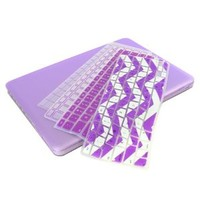"UHURU Great Deal Bundle for Apple Macbook Air 11"" Model: A1370 and A1465 - Ultra Slim Rubberized Hard Case + 4 Different Styles Silicone TPU Chevron Keyboard Covers (Macbook Air 11"" Model:A1370/A1465, PURPLE)"