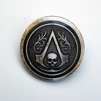 """Assassin´s Creed Black Flag 1x1.5"""" pinback button badge from Stickerama"""