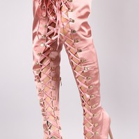 Satin Ribbon Lace-Up Stiletto Over-The-Knee Boots