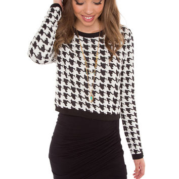 Haute In Houndstooth Crop Sweater