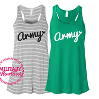 Army Racerback Tank Top Shirt, Custom Military Shirt for Wife, Fiance, Girlfriend, Workout