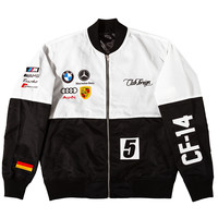 Club Foreign 2T Racer Jackets in White / Black