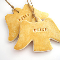 Angels clay Christmas ornaments, Christmas decor, holiday gift tags, hostess gift tag, gold peace angels, rustic holiday gift wrap, set of 2