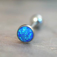 Turquoise Blue Fire Opal Tongue Barbell Piercing