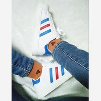 Summer11Adidas Fashion Shell-toe Flats Sneakers Sport Shoes White (blue red line)