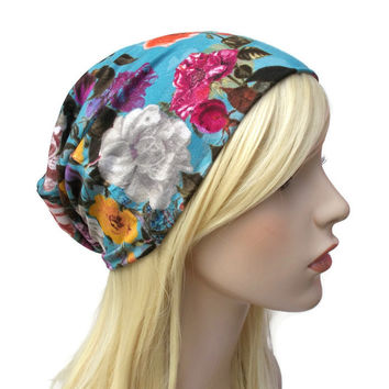 Blue Beanie with Colorful Flowers