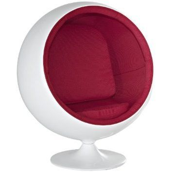 LexMod Eero Aarnio Style KIDS Ball Chair in Red