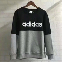 ADIDAS Women Man Fashion Splicing Print Long Sleeve Top Sweater Pullover G-A-GHSY-1