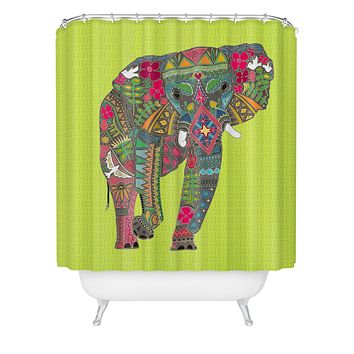 Sharon Turner Painted Elephant Chartreuse Shower Curtain