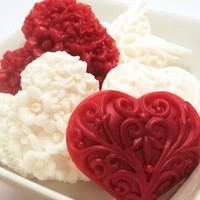 Red and White Heart Soaps - Hostess Gift Set - Decorative Soap - Black Raspberry Vanilla Scented Heart Soap