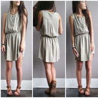 A Buttondown Sundress in Olive