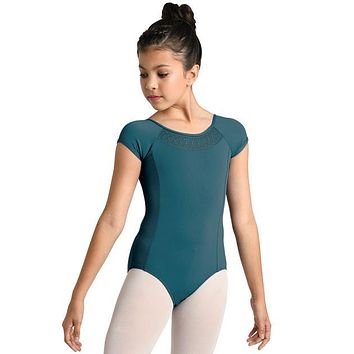 Danz N Motion Girl's Blue Cap Sleeve Leotard w/ Embroidery