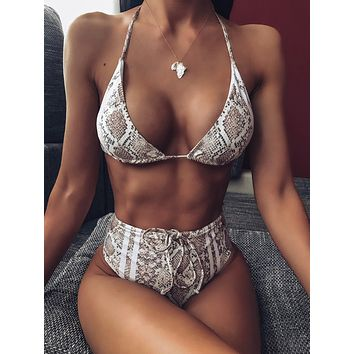Snakeskin Halter Top With High Waist Bikini Set