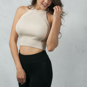 Knitted Crop Top - White