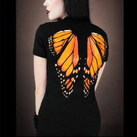 Kawaii 3D Skull Printed Tops T-shirt Butterfly Wings Gothic Punk Black T-Shirts Clubwear Tattoo Women's T shirt