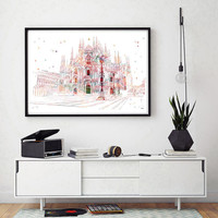 Milan Duomo Cathedral watercolor Print The Duomo cathedral church of Milan Italy Illustration The Duomo at Milan Italy geography art [294]