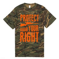 Protect Your Right (Camo Shirt)-Unisex Green T-Shirt