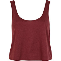 River Island Womens Dark red cropped boxy tank