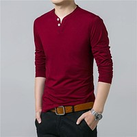 T-Shirt Men Spring Autumn New Long Sleeve Henry Collar T Shirt Men Soft Pure Cotton Slim Fit Tee Shirts