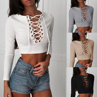 Round Neck Knit Long-Sleeved T-Shirt