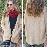 SZ MEDIUM One Of A Kind Taupe Knit Open Cardigan