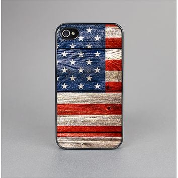 The Wooden Grungy American Flag Skin-Sert Case for the Apple iPhone 4-4s