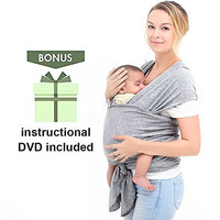 Innoo Tech Baby Sling Carrier Natural Cotton Nursing Baby Wrap Suitable for Newborns to 35 lbs Lifetime Guarantee Breastfeeding Sling Baby Holder Soft Safe and Comfortable Nice Baby Shower Gift Gray