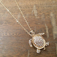 Gold Rhinestone Turtle Necklace   Candy's Cottage