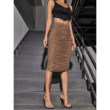SHEIN Ruched Solid Skirt