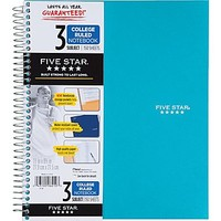 """Five Star® 3-Subject Notebook, College Ruled, Assorted, 8-1\/2\"""" x 11\"""" 