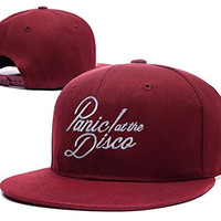 XINMEN Panic At The Disco Band Logo Adjustable Snapback Caps Embroidery Hats - Red