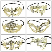 Golden Royalty Masquerade Collection I -Venice Metal Laced Laser Cut Designs Filigree Eye Mask