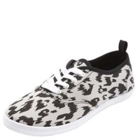 Print Canvas Lace-Up Sneaker by Charlotte Russe - Classic Leopard