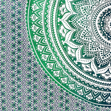 Indian Sacred Geometry Ombre Mandala Twin Double King  210cm x 240cm Bed Sheet Cover Wall Hanging Hippie Tapestry Festival Boho Wall Art UK