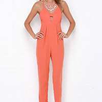 Young, Wild and Free Coral Orange Jumpsuit