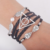 Vintage Leather Cord Infinity HP Bracelet Deathly Hallows with Owl Snitch Wings Imitation Pearl for Women or Men Gifts