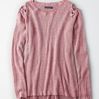 AEO Lace-Up Shoulder Sweater, Pink