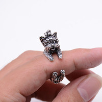Vintage West Highland Yorky Terrier Rings Streched Animal Yorkshire Puppy Dog Rings for Women
