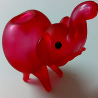 Pink Frosted Hand Blown Glass Elephant