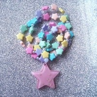 Star Princess - Pastel Rainbow Stars Stretch Necklace and Bracelet Set from On Secret Wings