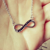 YAN & LEI Alloy Necklace with Black CZ Infinity Pendant
