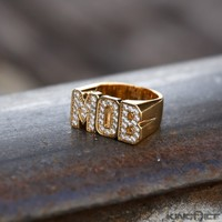 King Ice 14K Gold CZ Money Over Bitches MOB Ring