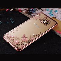 Rhinestones Clear Transparent TPU Plating diamond Case For Samsung Galaxy A3 A5 A7 2016 A8 A9 J3 J5 J7 S6 S7 S6 S7 Edge S6  Plus