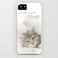 ALL YOU NEED IS LOVE AND A CAT  iPhone Case by SUNLIGHT STUDIOS for iphone 5 + 4S + 4 + 3 GS + 3 G + skins + pillow + more | Society6