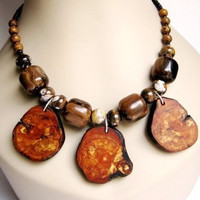 Statement Necklace Wooden Pendant Brown Jasper Eco Friendly Sustainable Jewelry Ceramic Bead Beaded Handmade Natural Shell Heishi