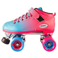 Riedell - Dart Ombré Roller Pink and Blue Skates and Ombré Black and Neon Green